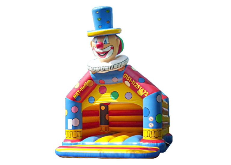 Clownkopf-Hüpfburg günstig zu mieten